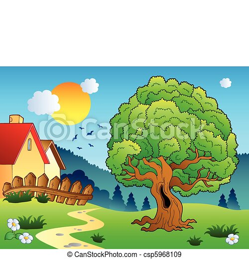 Meadow with big leafy tree - csp5968109