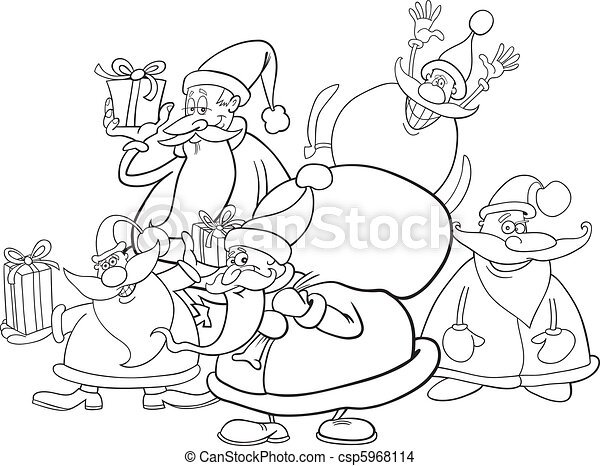 santa clauses group for coloring - csp5968114