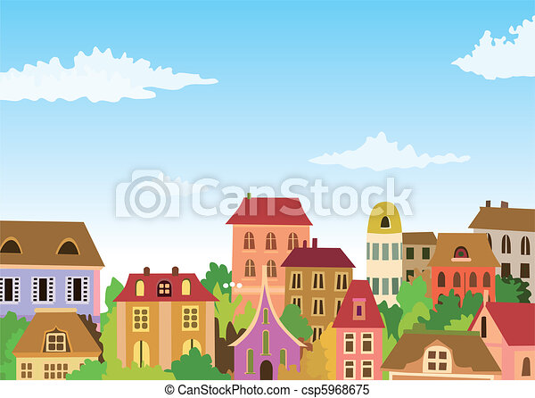 cartoon urban scene - csp5968675