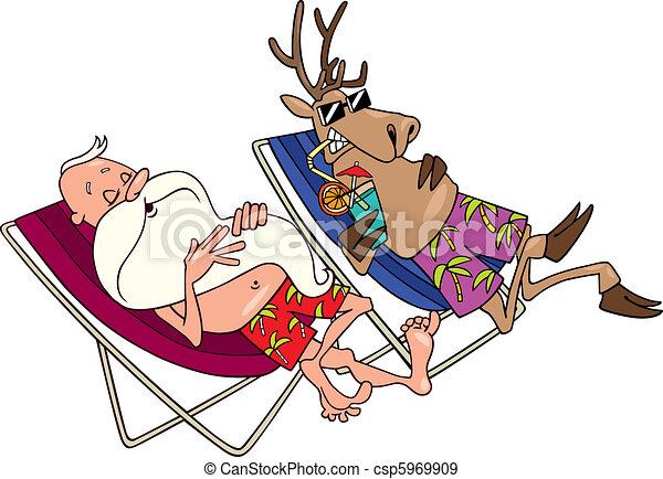 santa and reindeer having a rest - csp5969909