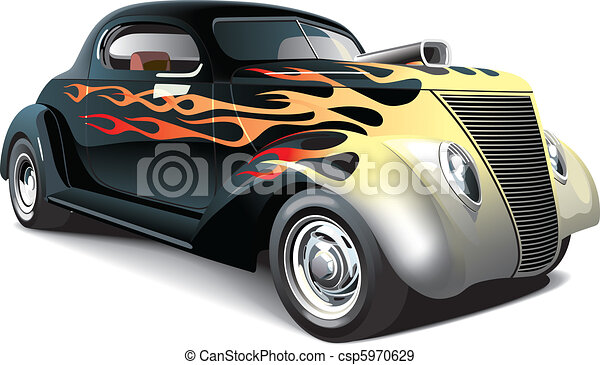hot rod with flame ornaments - csp5970629