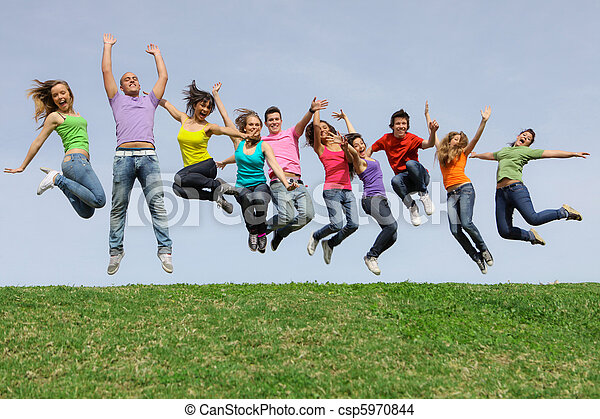 Rennen, Gruppe, springende, verschieden, gemischter, Lächeln, glücklich - csp5970844