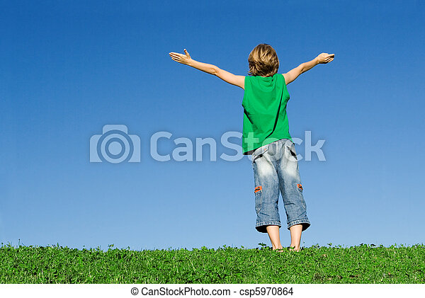 faith, happy child with arms raised - csp5970864