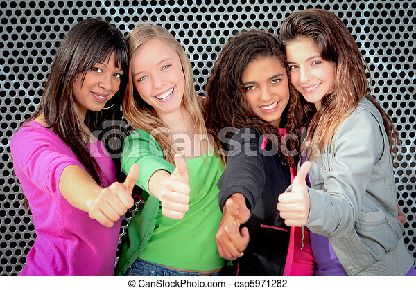 Happy diverse teen girls showing thumbs up - csp5971282