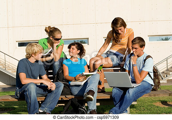 outdoor study group of students - csp5971309