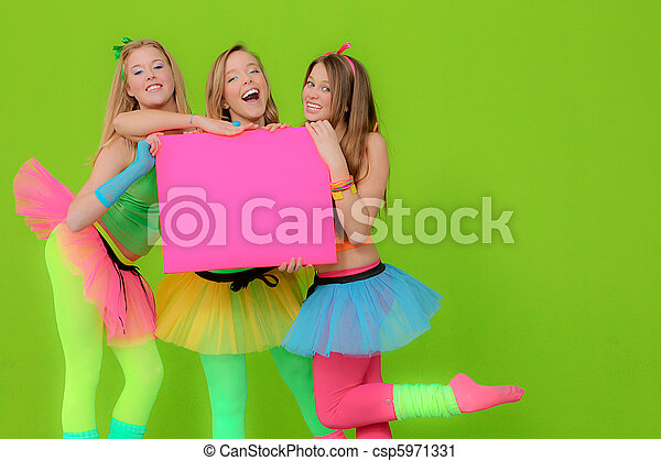 Fashion girls in neon clothing holding blank pink billboard - csp5971331