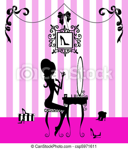 Silhouette of a Girl at her Vanity Table - csp5971611