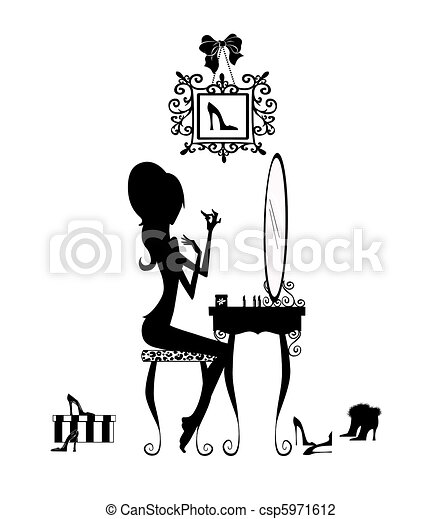 Silhouette of a Girl at her Vanity Table - csp5971612
