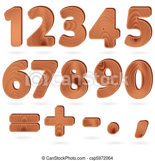 Digits in wood grain texture style - csp5972064