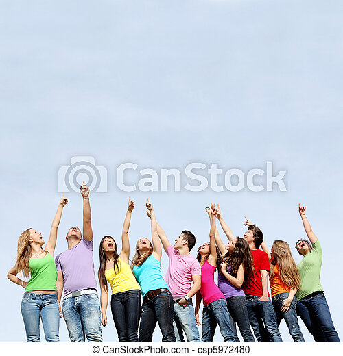Group of teens pointing - csp5972480
