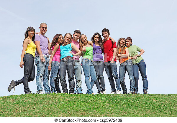group of diverse teens - csp5972489
