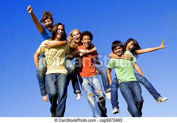 piggyback race of diverse teens - csp5972493