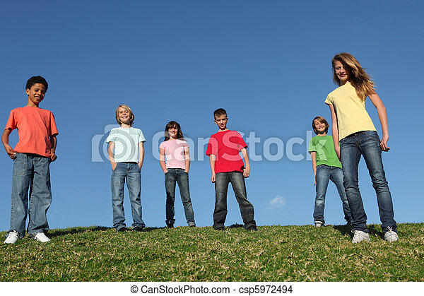 group of diverse kids - csp5972494