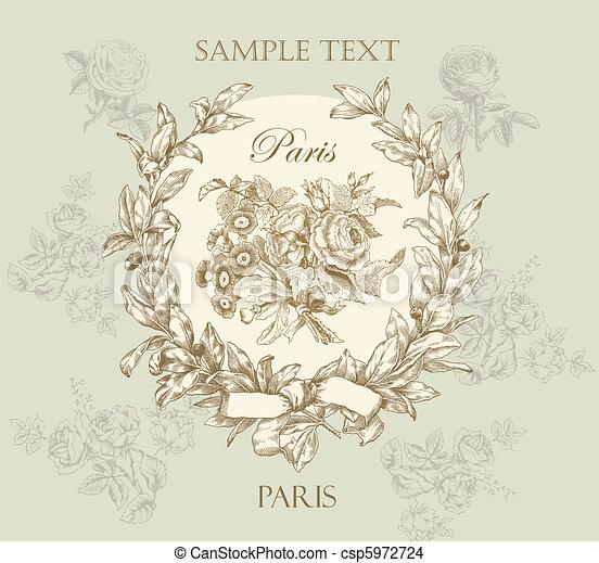 Pastel gentle rose vector label wit - csp5972724