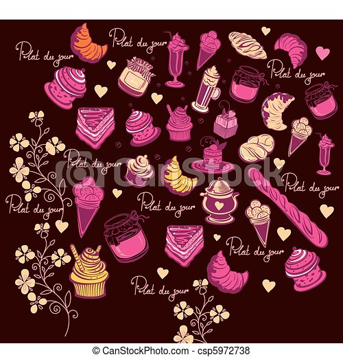 Symbols of Paris. Culinary pattern. - csp5972738