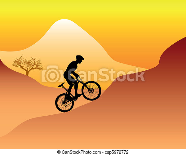 mountain biker riding down hill - csp5972772