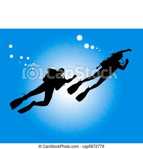 silhouettes of two divers - csp5972779