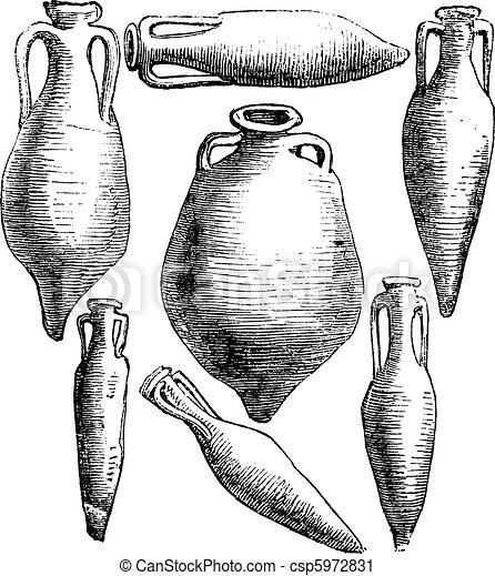 Greek and Roman amphora vases vintage engraving. - csp5972831
