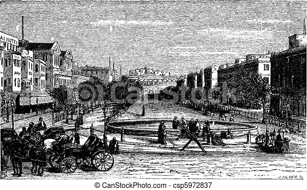 Tahrir Square (formerly Mohammed Ali Square and Place des Consuls), in Alexandria, Egypt. Scenic engraving. - csp5972837
