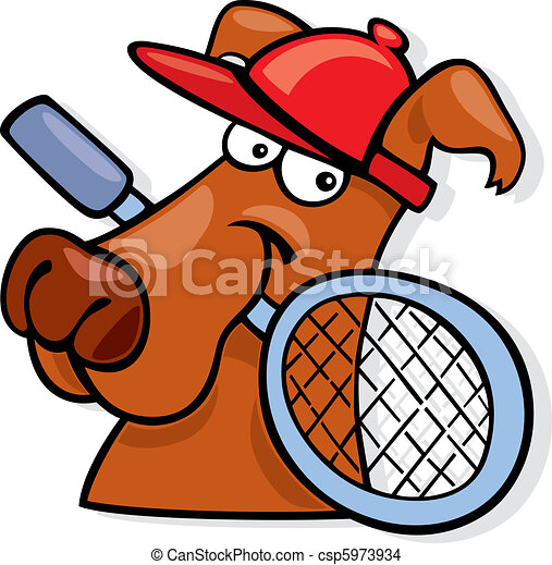 Sporty dog with tennis racket - csp5973934