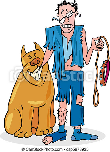 Bad dog and his battered owner - csp5973935
