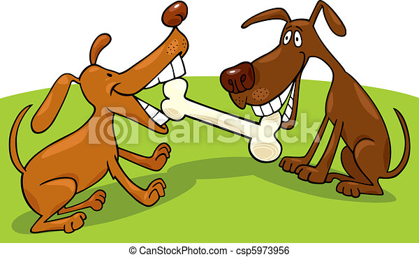 dogs playing with bone - csp5973956