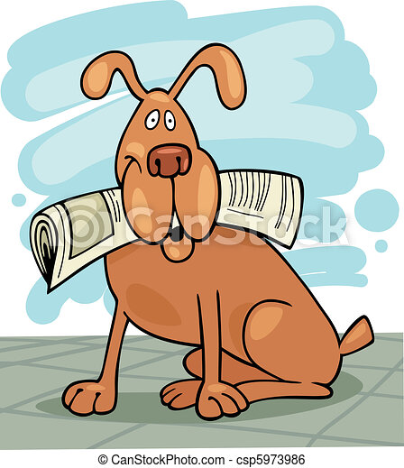 Dog with newspaper - csp5973986