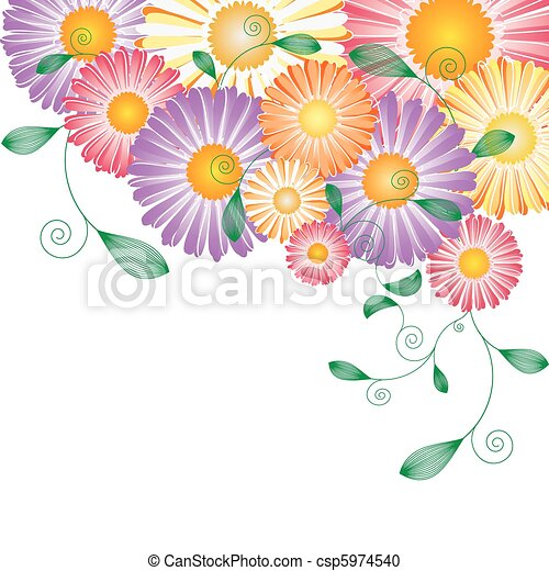Springtime colorful flower greeting card - csp5974540