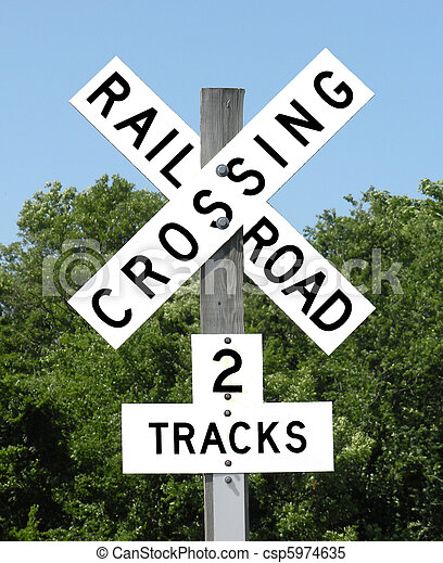 Stock Photo - Railroad Crossing 2 tracks sign - stock image, images ...
