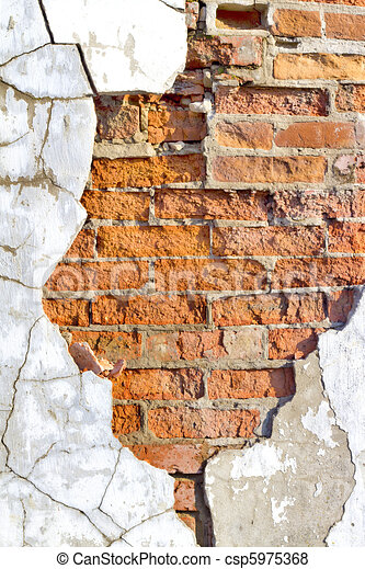 Stock Illustration Of Old Brick Wall With Crumbling