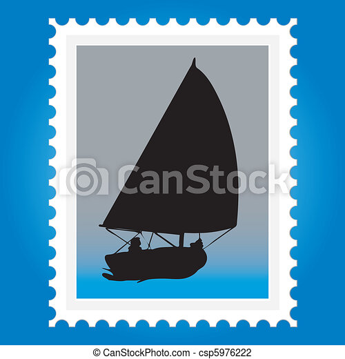 Postage stamps with ships - csp5976222