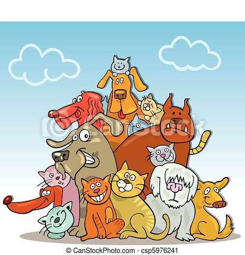 Cats And Dogs Drawings Cats And Dogs Csp5976241