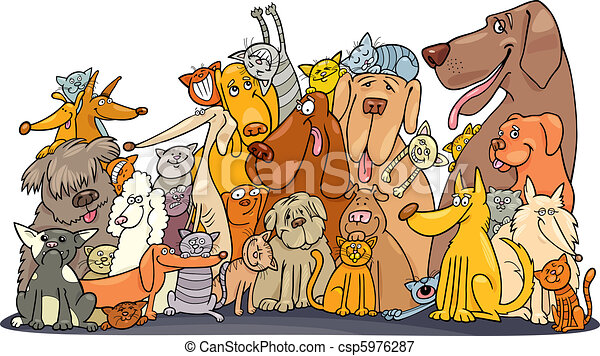 Huge group of Cats and Dogs - csp5976287