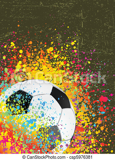 Splash grunge background with a soccer ball. EPS 8 - csp5976381