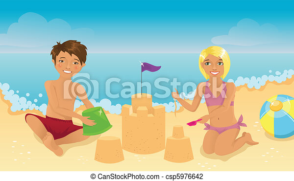 Kids playing on the beach - csp5976642