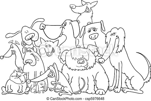 group of dogs for coloring - csp5976648