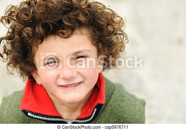 Fine art portrait of cute kid - csp5976711