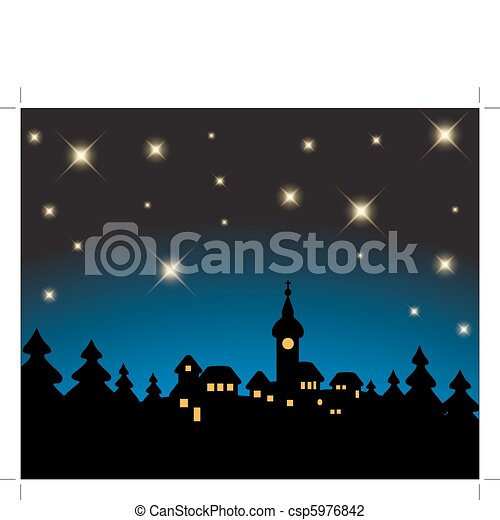 Christmas card - night snowy landscape - csp5976842