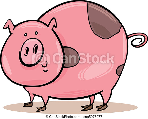 Farm animals: spotted pig - csp5976977