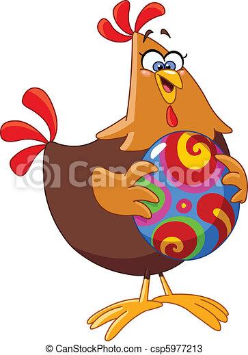 Vecteurs de oeuf poulet paques dessin anim poulet tenue une csp5977213 recherchez - Dessin oeuf de paques couleur ...