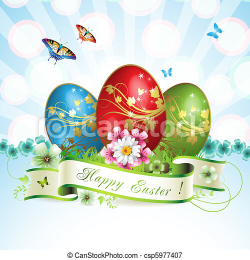 Easter card with butterflies - csp5977407