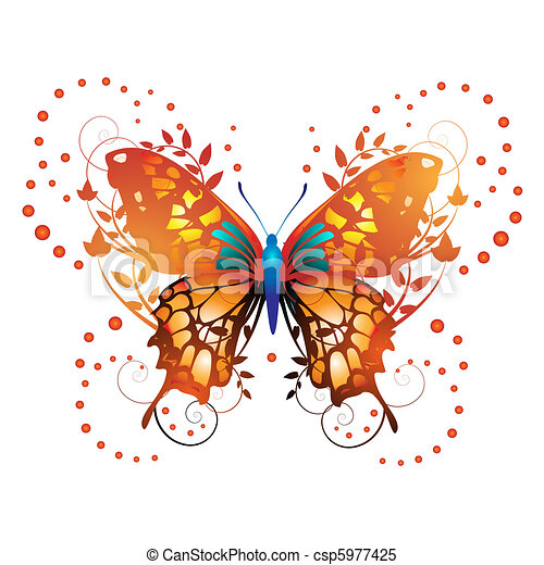 Stylized red butterfly - csp5977425
