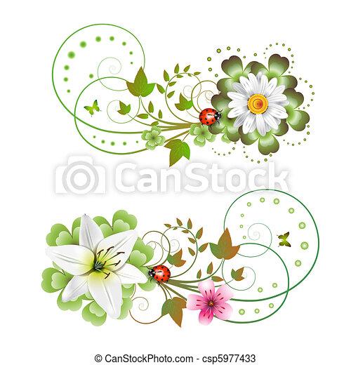 vetores de flores arranjo e borboletas csp5977433 pesquisar clip arte ilustra o desenhos. Black Bedroom Furniture Sets. Home Design Ideas