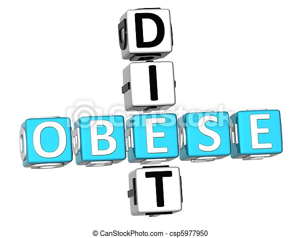 Obese Diet Crossword - csp5977950
