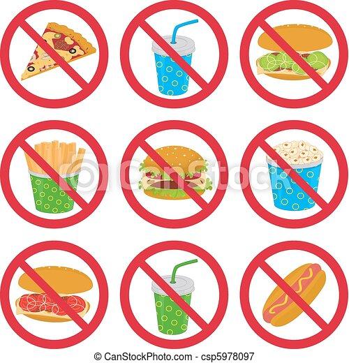 Anti-fast food signs - csp5978097