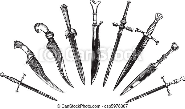 Set of Oriental and European Daggers - csp5978367