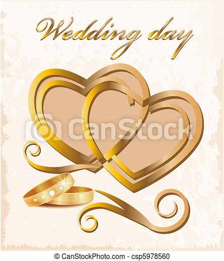 Vintage wedding card. - csp5978560