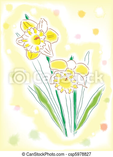 Watercolor daffodils - csp5978827