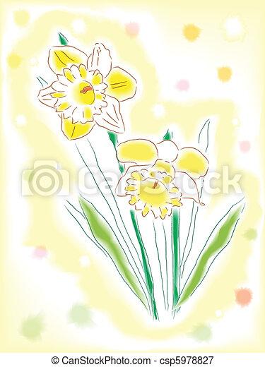 Watercolor daffodils - csp5978827