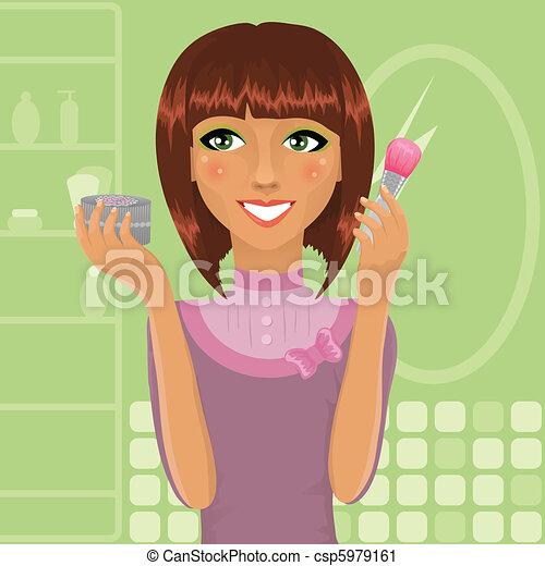 Girl applying powder with make-up brush - csp5979161